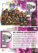 2004 SELECT AUTHENTIC NRL CASE CARD: PENRITH PANTHERS #CC1 2003 PREMIERS