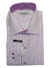 Chemise ANTONIO RIZZI violet rayures HOMME manches longues T6 45 / 46  NEUF