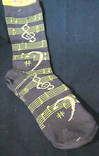 Womans Music Crew Socks Brown Silver Metallic Thread Size 9-11 Staff Clefs Notes