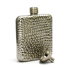 6OZ High Quality 304 stainless steel hip flask silver hammer finish with funnel