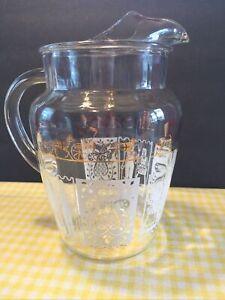 Vintage Glass Juice Tea Pitcher Pyrex Butterprint Compatible White Gold 8.5Retro