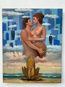 excellent painting,oil on old canvas,masterpiece of old painter,signed MAGRITTE