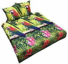 3 tlg 100% Baumwolle Bettwäsche 200x200 Bettwaren Bettbezug Tropen Papagei