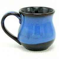 Coffee Mug Cup Studio Art Pottery Ceramic Bright Blue Black Drip Glaze 12 oz New