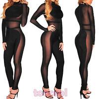 Overall donna tuta tutina pantaloni inserti velati sexy nuova DL-2059