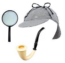 Sherlock Holmes Fancy Dress Detective Kit Set Deerstalker Magnifier Pipe Hat