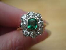 Beautiful Victorian 18ct Gold Emerald & Diamond 1.60ct Ring c1880 (5.0g) Size M