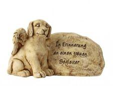 Hund mit Flügel neben Grabstein Spruch Grabschmuck Grabdeko Gedenkstein H = 25cm