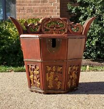 New listing Antique Chinese Locking Box Lacquer Gold Red Gilded Gilt