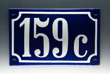 EMAILLE, EMAIL-HAUSNUMMER 159c in BLAU/WEISS um 1955