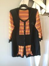 GABRIELLA FRATTINI Orange Green Blue Yellow Black Elbow Sleeve Jumper Tunic 14