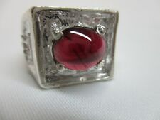 MEN'S OR LADIES FINE 3.36 CT GARNET WITH PINK SAPPHIRE ACCENTS  STERLING RING