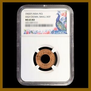 British India 1 Pice, 1943 (P) NGC MS 65 RD High Crown Small Dot 4431489-014