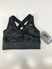 Gymshark Womens Camo Seamless Sports Bra Size XS Color Black/Gray NWT