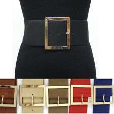 classy Women Elastic Waist Wide Belt Stretch PU Leather Gold Metal Hook Silver