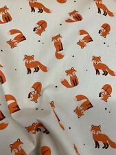 Cream Fox, Foxes Printed 100% Cotton Poplin Fabric