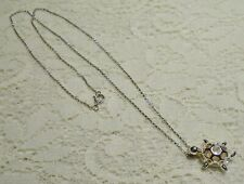 """Sterling Silver 925 Freshwater Pearl Turtle Cage Pendant Necklace 18"""""""