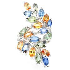 Großer Ring Saphir orange grün blau 925 Silber 585 Weißgold vergoldet Gr. 58