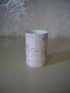 Crabtree & Evelyn Bone China Pink and White Bathroom Tumbler/Holder