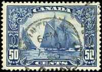 Canada #158 used VF 1929 Scroll 50c dark blue Bluenose with SON CDS CV$100.00