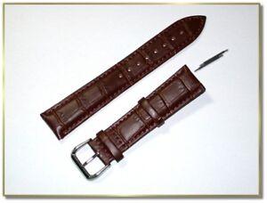 hochwertiges echt Leder Uhrenarmband Braun Krokodil 20mm Stegbreite 9834