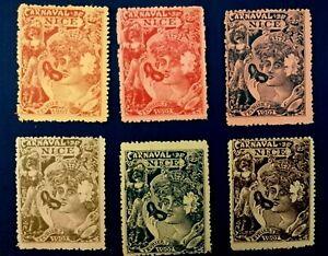 Set of 6 Old Poster Stamp Carnaval Nice Fevrier 1907 -  France Cenerentola