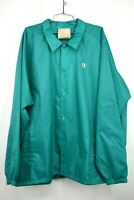 Champion Mens Vivid Teal Coaches Jacket Rare Snap Button Front Long Sleeve 3XL