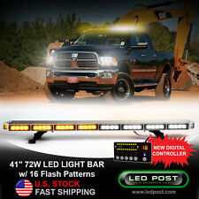 "41"" Amber White 72W Emergency LED Strobe Roof Security Light Bar Slim Digital"