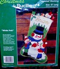 "Bucilla ""WINTER PALS"" Felt Christmas Stocking Kit RARE Sterilized 32223"