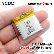 Rechargeable 3.7V 500mAh 603030 Li-Po Battery For MP3 DVD GPS Toy Smart Watch