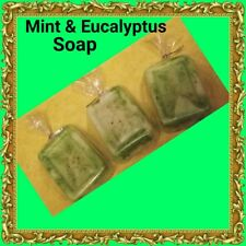 Handmade Natural Organic Vegan Eucalyptus Mint Acne Oily skin Soap Spa Set