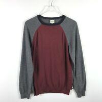 Armani Collezioni Mens Crew Neck Sweater Size S Burgundy Gray Color-Block Knit