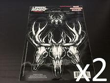 """x2 (5.29"""" x 5.36"""")  Lethal/Threat Deer Skull Body Decal Emblem Logo Sticker"""