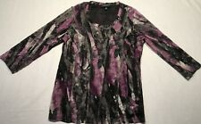 Monterey Bay womens Top Multi Color Floral 3/4 Sleeve Size M