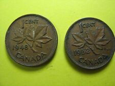 CANADA 2 COINS 1 CENT 1948 1952