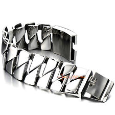 Heavy Men Stainless Steel Cuban Curb Link Chain Bracelet 31mm Wide Silver Polish