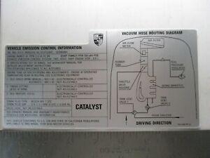 PORSCHE 968 ENGINE BAY EMISIONS VACUUM DATA DECAL NEW GENUINE PORSCHE 1993 ONLY