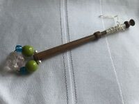 Lace Bobbin Wooden Green Blue Clear Glass Beaded Spangle Vintage