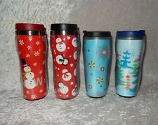 Lot of 4 Christmas Coffee Tumblers 2- Starbucks, 2- Kohls