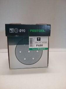 Festool Brilliant 2 Disc 90mm 6 Hole 400G 100 Pack 497389