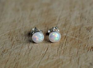 925 Sterling silver  stud earrings with 5 mm white Opal