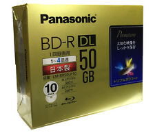 10 Panasonic 3D Blu ray DVD 50GB Factory Sealed BD-R DL Bluray DVD 4X Printable
