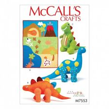McCalls Childrens Easy Sewing Pattern 7553 Dinosaur Plush Toys & Applique...