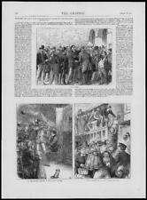 1874 - Antique Print FRANCE Parisian Life Bourse Marionette Station  (255)