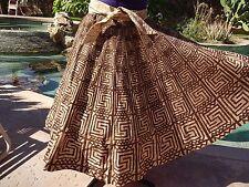 """Vintage 1950s Mexican handpainted circle skirt unique S/M 29"""" waist cotton"""