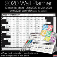 2020 Year Planner Wall Chart ✔Staff ✔Holidays+Stickers+Pens+Desk Calendar ✔BLACK