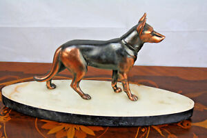 ART DECO French 1930 Spelter german dog statue sculpture marble base