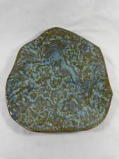 "Art Pottery Plate 11"" Aqua Blue Green Gold Heavy Texture Free Form Decorative"