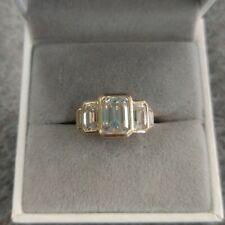 10K solid yellow gold 2ct emerald main stone  5stone art deco ring Moissanite