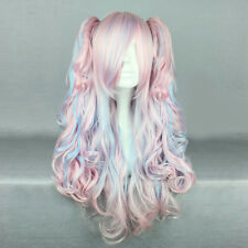 70cm Hell Lila Mixed Rosa Lang Haar Anime Party Cosplay Perücke Party Wig